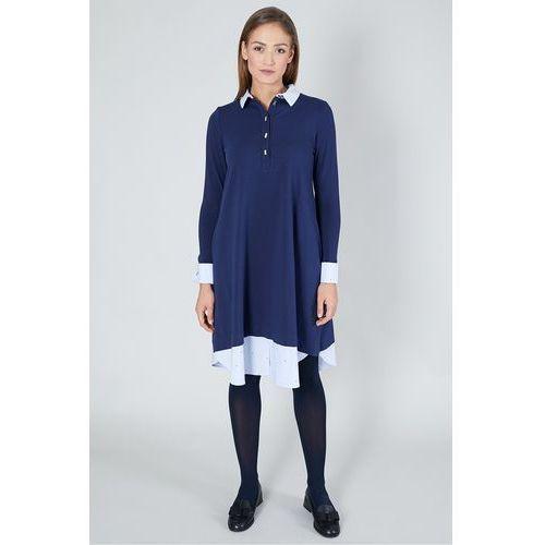 Click fashion Granatowa sukienka z koszulowymi wykończeniami -
