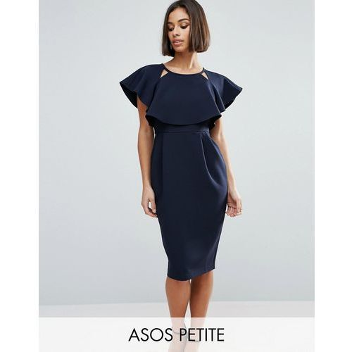 ASOS PETITE Double Layer Midi Dress with Cut Outs and Angel Sleeve - Navy