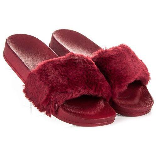 Via giulia Bordowe klapki z futerkiem - odcienie czerwieni