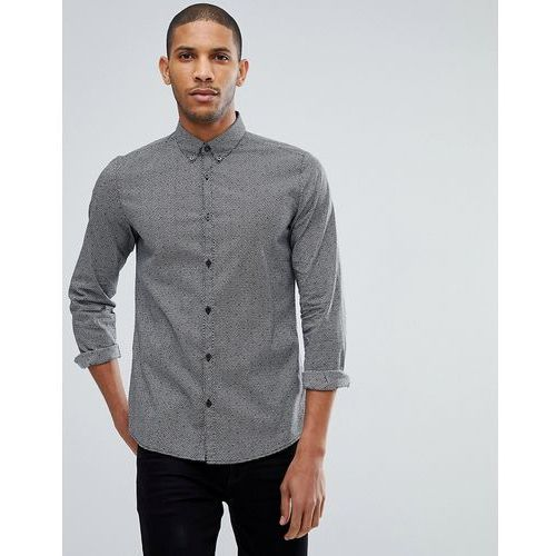 fitted shirt with monochrome print - black, Tom tailor, S-L