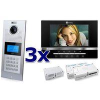 Genway Zestaw wideodomofonowy 3 rodzinny panel c5 c9e21l-c, 3x monitor c5 v13, akcesoria