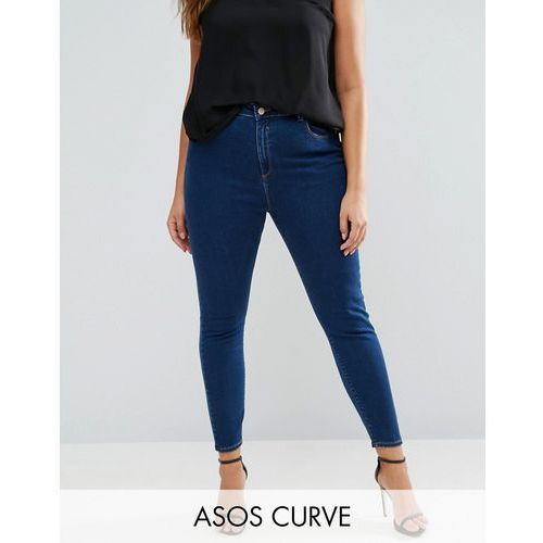 ASOS CURVE RIDLEY High Waist Skinny Jeans in Deep Blue Wash - Blue
