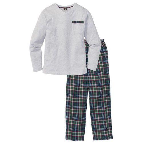 Piżama jasnoszary melanż w kratę marki Bonprix