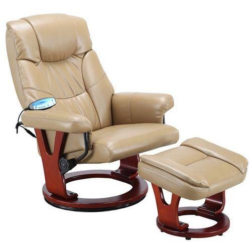 Regoline Karmelowy fotel masujący wypoczynkowy biurowy masaż grzanie - karmelowy