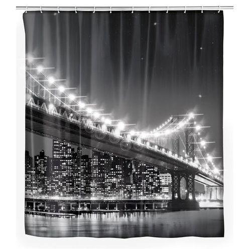 Zasłona prysznicowa ze światełkami LED i nadrukiem przedstawiającym nowojorski Brooklyn Bridge