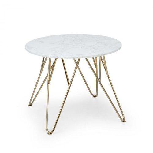 Besoa Round Pearl, stolik kawowy, 55 x 45 cm (Ø x wys), imitacja marmuru, złoty/biały (4060656157066)