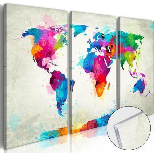 Artgeist Obraz na szkle akrylowym - mapa świata: eksplozja kolorów [glass]