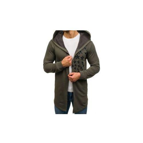 Długa bluza męska z kapturem z nadrukiem zielona denley 171374 marki Breezy