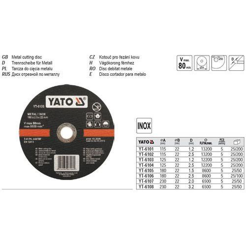 Tarcza do cięcia stali nierdzewnej 180x1,5x22 mm Yato YT-6105 - ZYSKAJ RABAT 30 ZŁ (5906083961052)