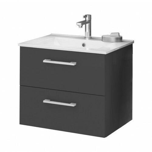 DEFTRANS SILESIA / METRO Zestaw łazienkowy szafka w kolorze grafit połysk + umywalka, 190-D-06003+1722