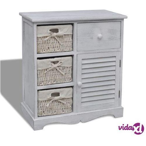 c81a6534422327 biała szafka drewniana z 3 wyplatanymi koszykami po lewej marki Vidaxl