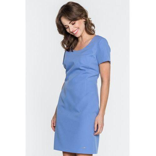 Niebieska sukienka z dekoltem w V - Sobora, kolor niebieski