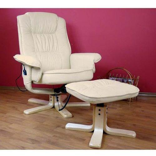 OKAZJA - Regoline Fotel masujący wypoczynkowy z masażem + ogrzewanie - kremowy / ecru