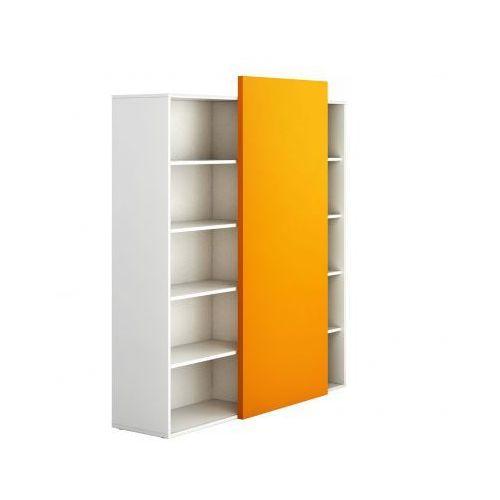 Szafa biurowa wysoka bez drzwi BLOCK White, pomarańczowa