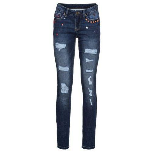 Dżinsy ze stretchem i aplikacją straight jasnoniebieski marki Bonprix