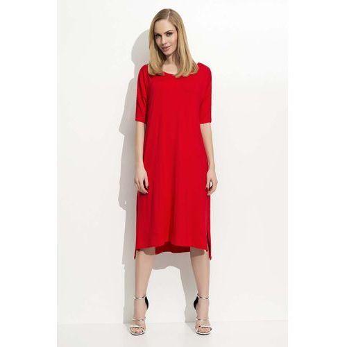 Czerwona trapezowa kobieca sukienka midi marki Makadamia