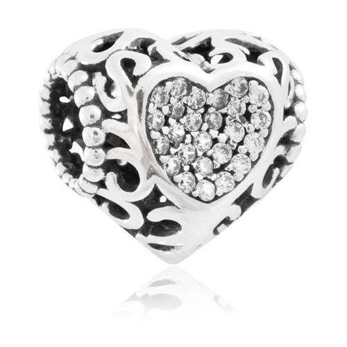Murrano Charms koralik srebrny kryształowe serce