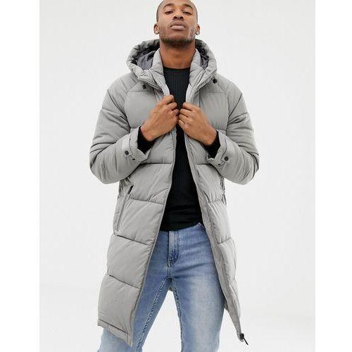 puffer jacket in longer length in grey - grey, Bershka