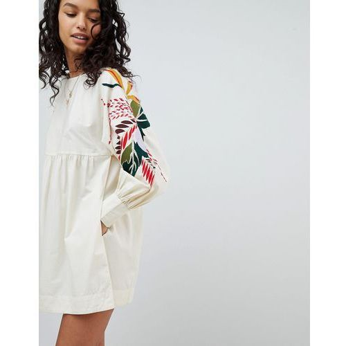 Free People Mini Obsessions Floral Mutton Sleeve Dress - White, kolor biały