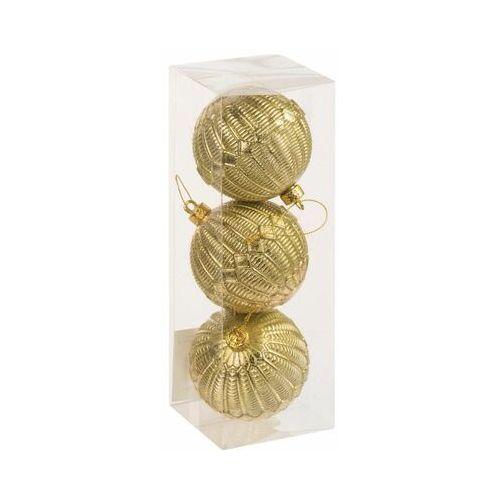 Bombki plastikowe 8 cm 3 szt. złote