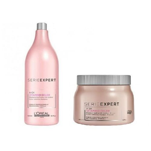 Loreal  vitamino color a-ox zestaw do włosów farbowanych: szampon 1500 ml + maska 500 ml