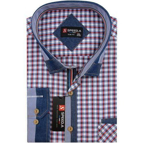 Koszula męska czerwona w kratkę z dodatkami jeans na długi rękaw duże rozmiary d875 marki Speed.a