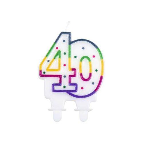Świeczka na 40-tke z kolorową obwódką i kropeczkami - 1 szt. (8712026310842)