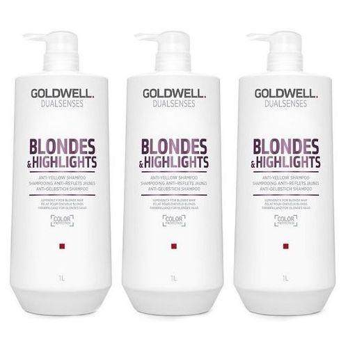 Goldwell DualSenses Blondes and Highlights   Zestaw: szampon do włosów blond 3x1000ml