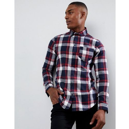 boohooMAN regular fit check shirt in navy and red - Navy, w 3 rozmiarach