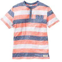 Bonprix Shirt z dekoltem henley łososiowy w paski