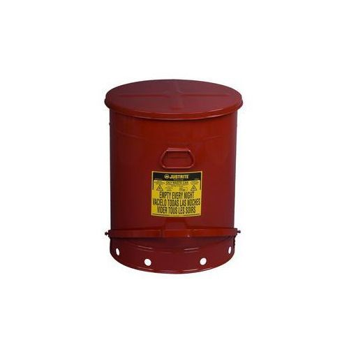 Bezpieczny pojemnik na odpady z blachy stalowej,okrągły, z pedałem nożnym marki Justrite