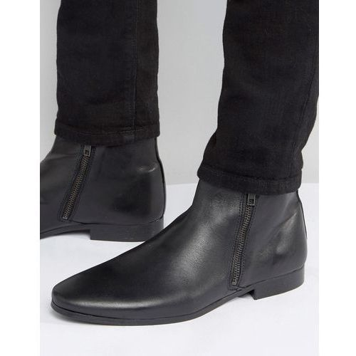 River Island Leather Boots With Zip Detail In Black - Black