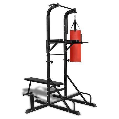 Vidaxl poręcz do ćwiczeń power tower z workiem treningowym i ławeczką