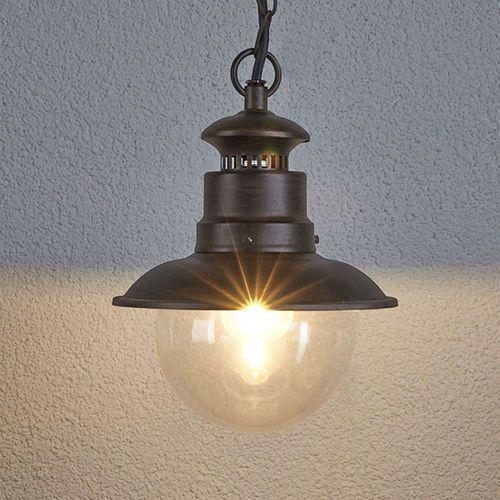 Przemysłowa okrągła lampa wisząca w kolorze brązowym - Eddie