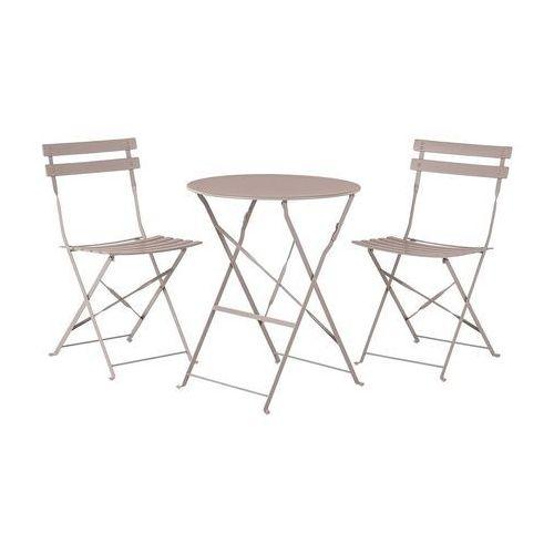 Meble ogrodowe szarobrązowe - balkonowe - stół z 2 krzesłami - FIORI (7105271889972)