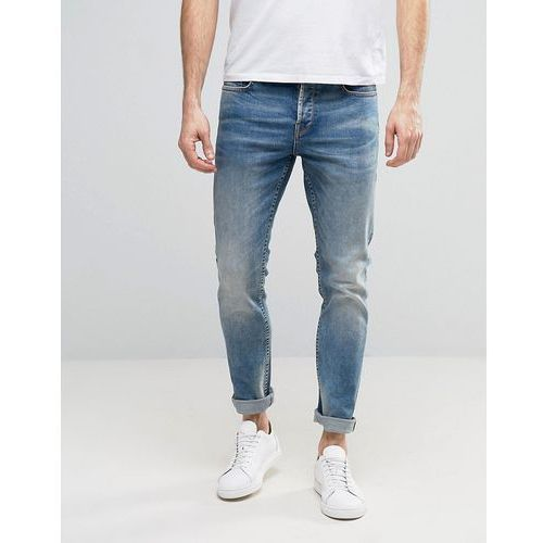 Only & Sons Slim Fit Stretch Heavy Wash Jeans in Light Blue - Blue, jeans