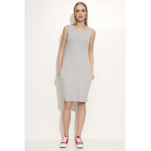 Szara Sukienka Dresowa Midi bez Rękawów z Kieszeniami