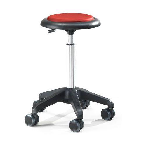 Mobilny stołek warsztatowy DIEGO, 440-570 mm, czerwona eko-skóra, 210676