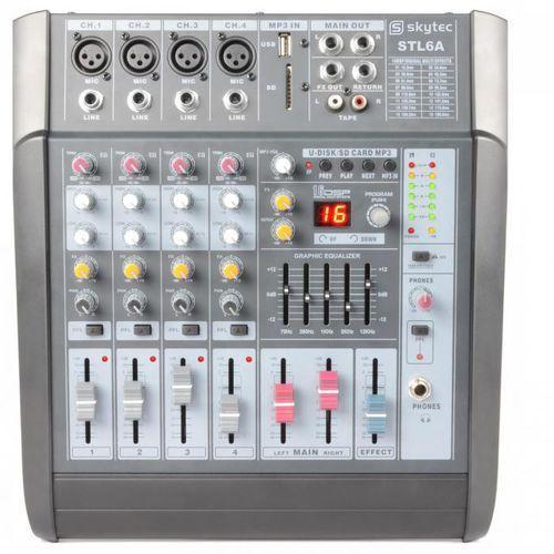 Skytec Stl6a aktywny 6-kanałowy stół mikserskiwzmacniacz 600 watów usb sd mp3 eq fx + 48v