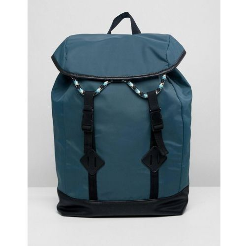 Asos design backpack in green with double strap and coloured drawcord - green