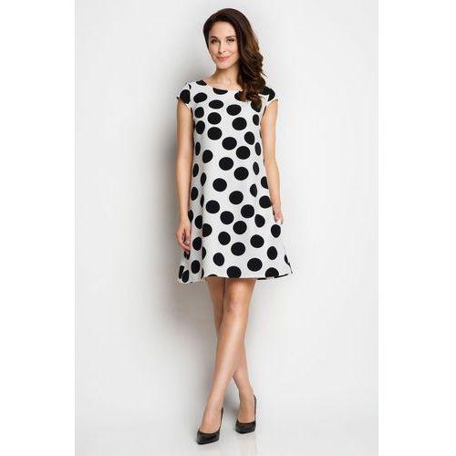 Biała Trapezowa Sukienka Letnia w Duże Grochy, kolor biały