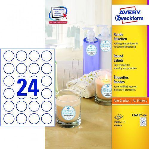 Etykiety o nietypowych kształtach okrągłe białe ø 40mm 100 arkuszy Avery Zweckfo (4004182034156)