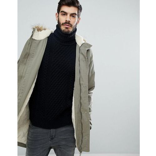 Le breve hooded parka jacket with borg lining - green