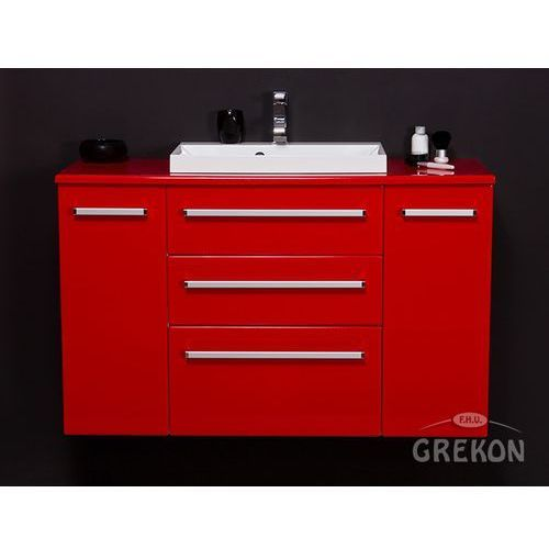 Czerwona szafka wisząca z umywalką 120/39/C3 seria Fokus CZ, kolor czerwony