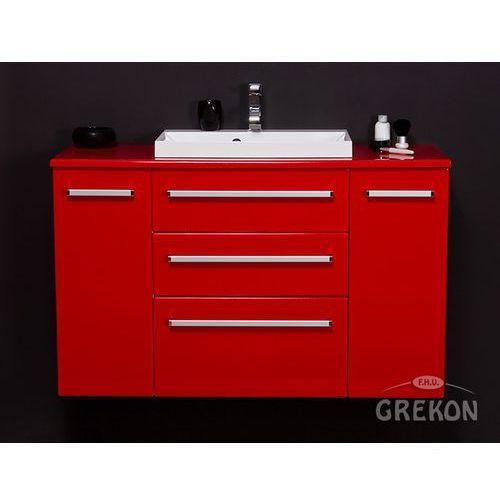 Czerwona szafka wisząca z umywalką 120/39/C3 seria Fokus CZ