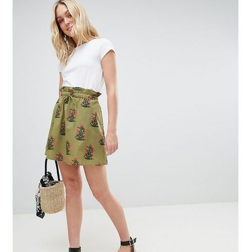 ASOS DESIGN Tall cotton mini skater skirt with pockets in green floral print - Multi