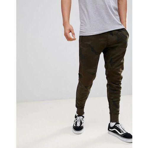 Pull&bear jogger with zip hem in khaki camo - green