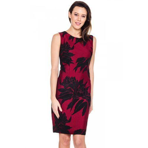 Karmazynowa sukienka w czarne kwiaty - Bialcon, kolor czerwony