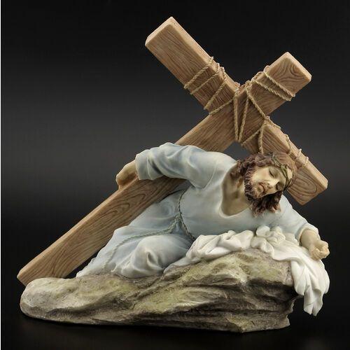 RZEŹBA - JEZUS NIOSĄCY KRZYŻ KOLOR VERONESE (WU75434AA)