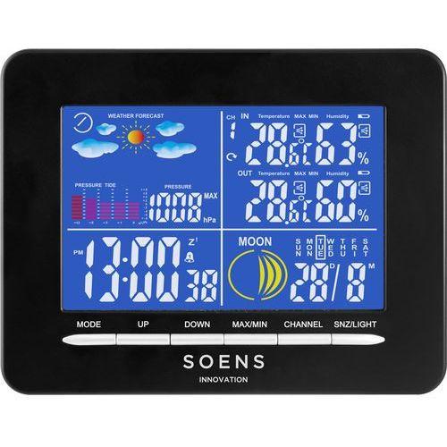 Biowin Stacja pogody premium, barometr, termometr, higrometr, wewnątrz i zewnątrz - czarny